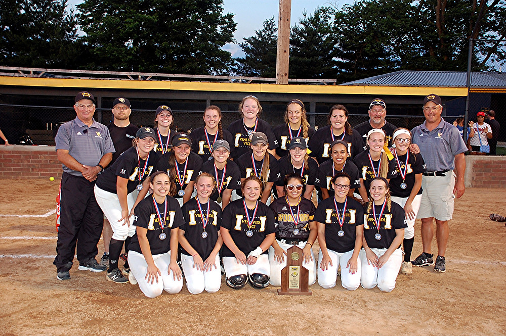 11TH REGION CHAMPS. The Woodford County High School softball team captured the 11th Region tournament championship on Wednesday, May 31, with a 1-0 win over Scott County at Lakeview Park in Frankfort. With the win, the team advances to the KHSAA State Softball Championship, which will be played at Jack C. Fisher Park in Owensboro Thursday to Saturday, June 8 to 10. Team members are, front row, from left, Peyton Rose, Leea Cole, Paige Hampton, Marly Maristany, Kyla Simpson and Lexi Braswell; middle row, Abby Moffett, Ariel Dailey, Bailee Ramnes, Kayleigh Poe, Emily Hestand, Tatum Wimberly, Kelsey Coleman and Kasey Abel; back row, Fred Powers (assistant coach), Walker Terhune (trainer), Chay Hayes, Saige Sutterlin, Delaney Enlow, Bethany Todd, Caitlin Karo, Rick Abel (assistant coach) and Les Anderson (head coach). (Photo by Rick Capone)