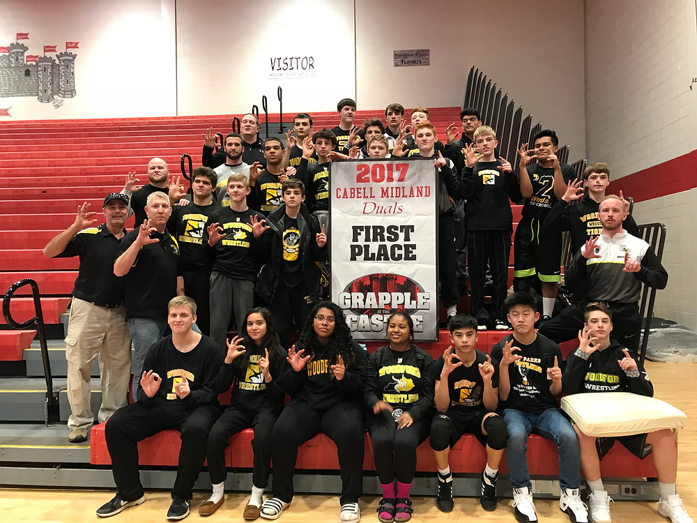 THE WCHS WRESTLING TEAM won first place at the Castle Duals in West Virginia on Saturday, Dec. 16. The Mat Jackets were 5-0 on the day. (Photo submitted)