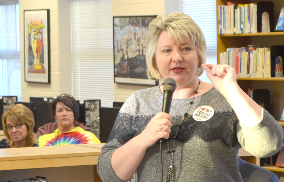 """KEA PRESIDENT Stephanie Winkler spoke during a pension rally at Woodford County High School last week. """"The bottom line,"""" she said, """"is we don't have a structural problem (in our retirement system). We have a funding problem in the commonwealth of Kentucky."""" (Photo by Bob Vlach)"""