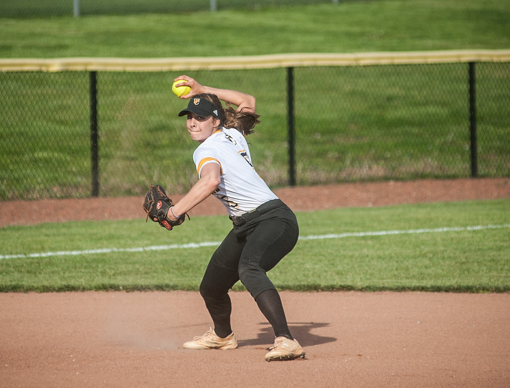 WCHS SENIOR PEYTON ROSE makes a throw to first base in the Lady Jackets' win over Madison Southern on Wednesday, May 2. (Photo by Bill Caine)