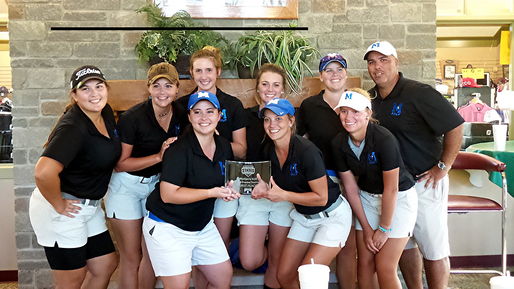 MIDWAY'S WOMEN'S GOLF team won its second tournament of the season, when it captured the River States Conference Fall Preview at Lassing Pointe Golf Club on Monday and Tuesday, Sept. 26 and 27. Team members shown are, front row, from left, Kayla Meredith, Chelsea Schack and Mercedes Lane; back row, Katie Coyle, Kathryn Lawler, Hannah Scroggins, Rylee Beard, Kelsey Whitehouse and Otis Smith. (head coach) (Photo courtesy Midway athletics)