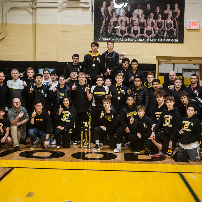 THE WCHS WRESTLING TEAM won the 46th annual Woodford County Invitational tournament on Dec 29-30. The event featured 30 teams from Kentucky, Georgia and West Virginia. (Photo by Bill Caine)