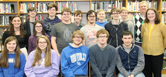 WCMS ACADEMIC TEAM members, from left, front, are Sarah Murner, Caylee Marshall, Travis Korby, Jonathan Grate and Ryan Mink; middle, Coach Devan Martinez, Sarah Potts, Connor Akers, James Bates, Logan Curtis and Coach April York; back, Sam Hite, Logan Craig, Wesley Forte, Sam Eagen, Seth Allen and Coach Ken Tonks. Not pictured are Derek Forte and Joe Kowalke. (Photo submitted)