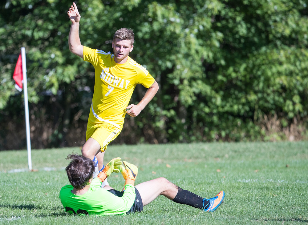 SENIOR STRIKER Brad Wilson picked a perfect time for his best game of the season against Union College on Tuesday, Sept. 12. The Doncaster, England, native, netted two goals and assisted on another to help lead the Eagles to a 3-2 upset of the 20th ranked Bulldogs. (Midway University photo)