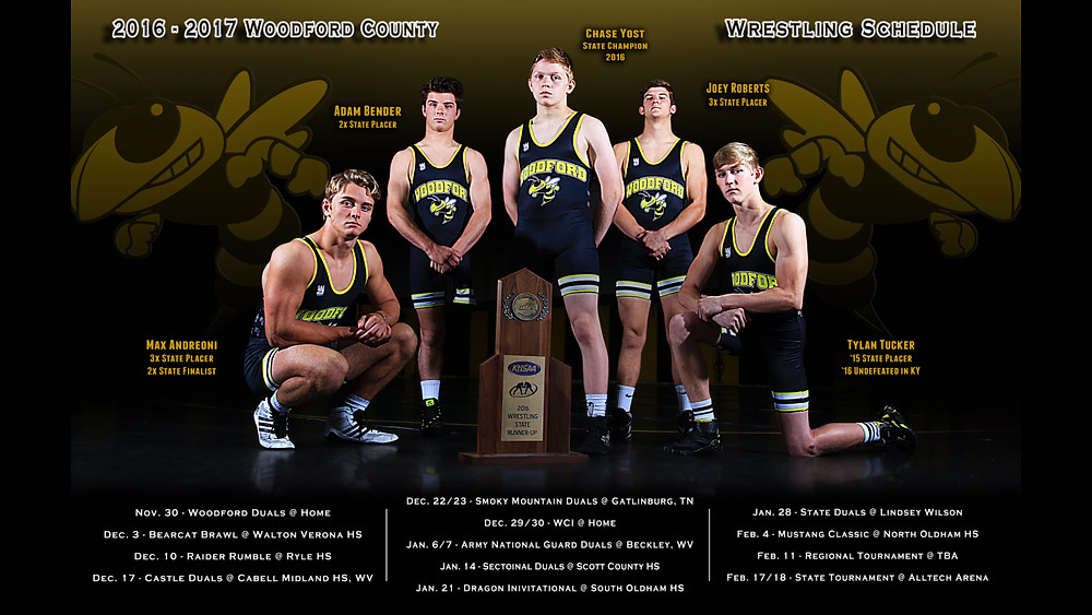 STATE PLACERS. The Woodford County High School wrestling team returns a number of wrestlers who placed at state last year and who are looking to help lead the team to a state championship this season. Shown in front of their 2015-16 second-place state trophy are, from left, senior Max Andreoni, who has been a state runner-up the last two seasons; junior Adam Bender, a two-time state placer who is a newcomer to the Mat Jackets this season; freshman Chase Yost, who won a state title last year as an eighth grader; senior Joey Roberts, a three-time state placer looking for his first state title; and junior Tylan Tucker, a state placer who missed last year's state championship tournament due to an injury. (Mat Jackets' wrestling poster photo by Sarah Wolford)