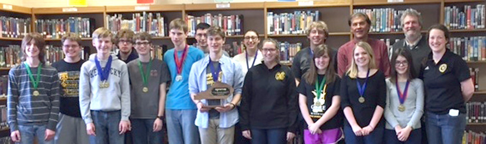 THE BRAIN JACKETS, the academic team at Woodford County High School, earned top honors at the District 41 Governor's Cup. From left are Wesley Forte, Connor Akers, Seth Allen, Jonathan Grate, Logan Curtis, Luke Allen, Ryan Mink, Branham Chandler, Jacqui Kowalke, Caylee Marshall, Caleb Chapman, Sarah Murner, Coach Kyle Fannin, Hannah Edelen, Sarah Potts, Coach Ken Tonks and Coach April York. (Photo submitted)