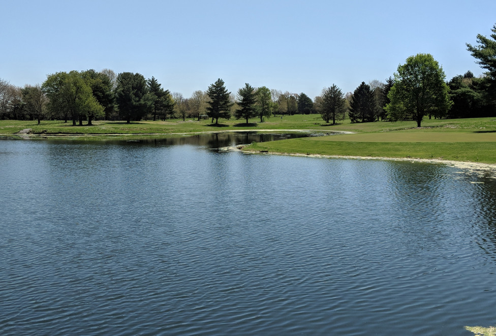 WOODFORD LAKES Golf Club may not have any true lakes, but it does feature three large ponds and two smaller ones. Behind this pond are the 1st green on the left and the 8th green on the right. General Manager Derek Lowe said during the extensive clean-up and renovation of the former Cabin Brook Golf Club course (also known as The Brook), the front and back nine holes were switched. (Photo submitted)