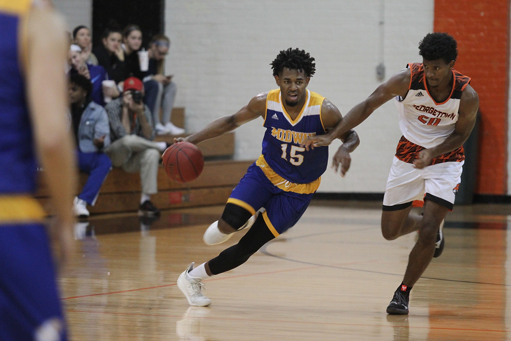 JASON GAMMAGE, a junior forward from Riverside, Calif., posted 13 points and 13 rebounds, while also swatting four shots in Midway's 99-89 victory in overtime over Crowley's Ridge Saturday, Nov. 10. (Midway Athletics photo)