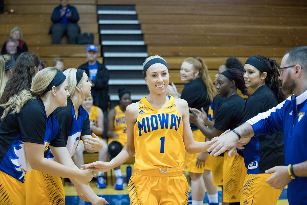 KELSEE KINDER, a junior guard from Detroit, Mich., finished with a team-high 14 points to go with five rebounds and four assists in Midway's 64-61 win over Indiana University Kokomo. (Photo by Mark Mahan)