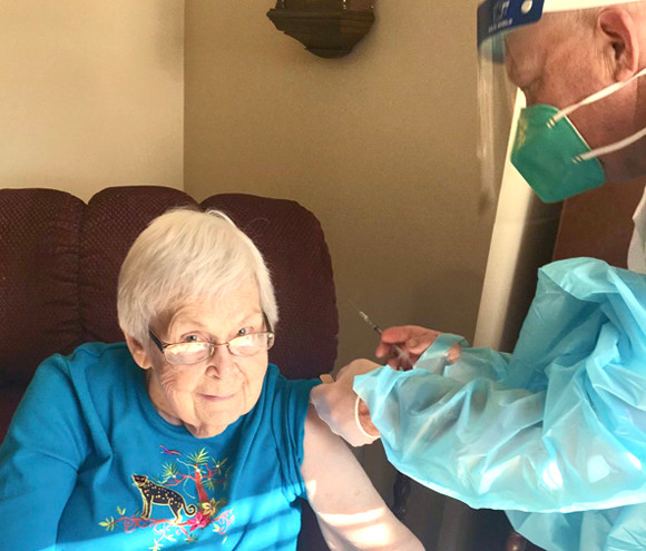 ANITA WILSON received her COVID-19 vaccine at The Homeplace at Midway during its vaccine clinic Dec. 26. (Photo submitted)