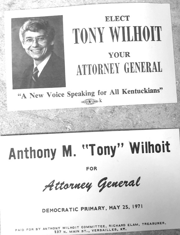 "FORMER WOODFORD COUNTY ATTORNEY Anthony ""Tony"" Wilhoit ran unsuccessfully for Kentucky Attorney General twice. Going door to door and talking to people were his least and most favorite things about a campaign, he said. When someone wasn't home, he and other candidates used to leave a business card like the ones pictured. (Photo by Bill Phelps)"