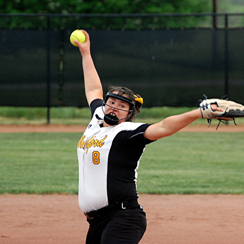 CAITLIN KARO is one of the top pitchers on the Woodford County High School softball team heading into the 2017 season. The senior is also one of the top pitchers in the state and she is looking to help the Lady Jackets reach the state championships this season. (File photos by Rick Capone)