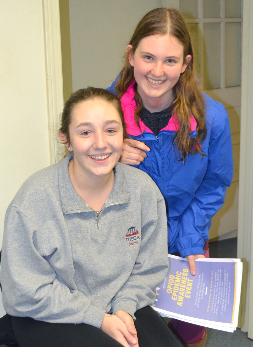 ARLA FAVETTO, left, and Madi O'Daniel, sophomores at Woodford County High School, helped organize the Opioid Epidemic Awareness Event on Sunday, March 17.  WCHS students Reagan Cole and Allison Bilbrey also contributed to this community awareness project they'll present at the state HOSA competition March 21. (Photo by Bob Vlach)
