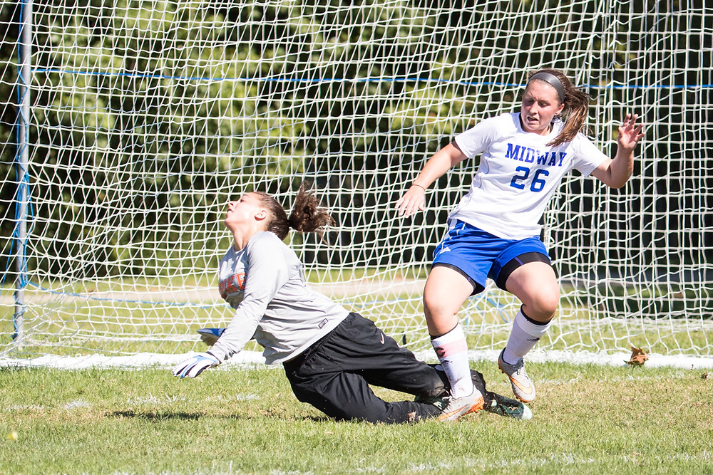 KINDSAY MILLER-RINEY, a senior from Bardstown, scored two goals, including the game-winner with just over five minutes remaining in Midway's 2-1 win over Pikeville. (Midway University photo)