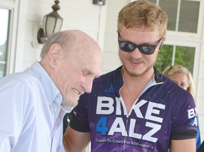 Cyclists visit Daisy Hill during coast-to-coast Alzheimer's ride
