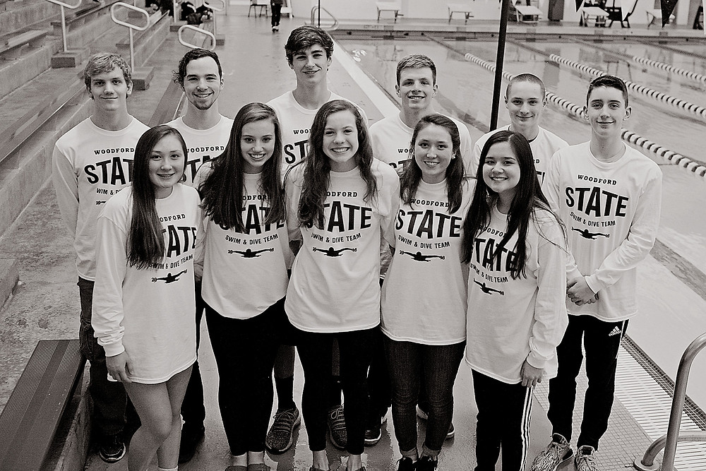 THE WCHS DIVE TEAM competed at the KHSAA State Championship on Feb 22-24 at the University of Louisville. Front row from left: Wade Young, Jack Shea, Caleb Evans and William Slover. Back row from left: Caitlin Cottingham, WCHS Coach Patty Burchett and Chelsea Call. (Photo submitted)