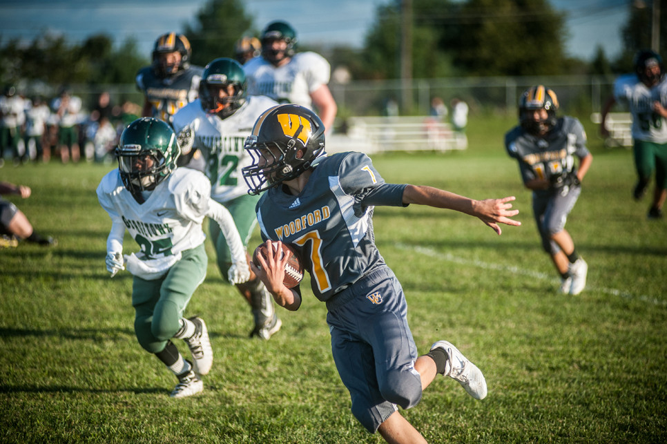 SAWYER FORD carries the ball in the seventh-grade game against Georgetown on Sept. 7. (Photo by Bill Caine)