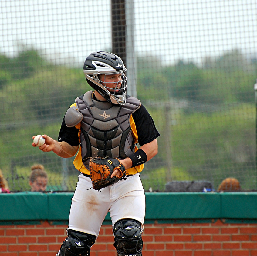 CHARLIE CORUM is a player to watch on the 2017 Woodford County High School baseball team, as he is the team's go-to catcher. (File photo by Rick Capone)
