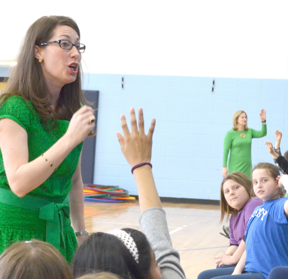 SECRETARY OF STATE Alison Lundergan Grimes spoke to fifth-graders about the importance of civic engagement and voting during her visit to Huntertown Elementary School last Thursday, March 17. (Photo by Bob Vlach)