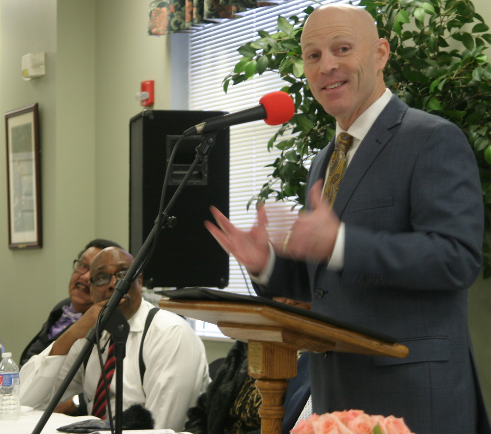 WOODFORD SCHOOLS SUPERINTENDENT Scott Hawkins gave the keynote speech at Monday's 7th annual Dr. Martin Luther King Jr. Breakfast at First Christian Church. Hawkins explained why both King and Jesus Christ were wonderful teachers. (Photo by John McGary)