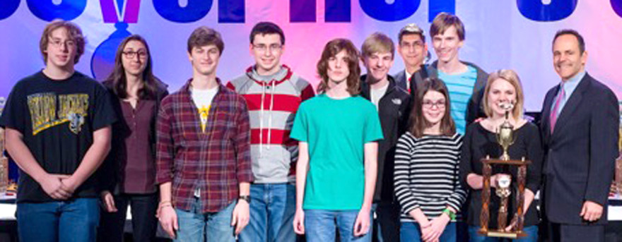 THE QUICK-RECALL TEAM at Woodford County High School had its highest-ever finish in Kentucky Governor's Cup competition as state runner-up in 2016. The WCHS academic team finished 11th overall. From left are Caleb Chapman, Jacqui Kowalke, Branham Chandler, Ryan Mink, Wesley Forte, Seth Allen, Jeremy Krug (past-president of the KAAC Board of Directors), Sarah Potts, Luke Allen and Hannah Edelen, with Gov. Matt Bevin. (Photo submitted)