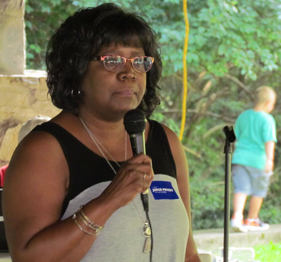 """NANCY BLACKFORD spoke about the loss of her son, Larry Blackford Jr., last Christmas Day – and her hopes for the future at RAW's annual """"We Remember You"""" gathering Sunday at Big Spring Park. (Photo by John McGary)"""