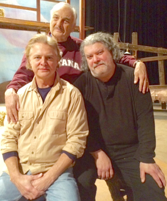 "JOE FERRELL, standing, returns to Woodford Theatre to direct ""Of Mice and Men,"" which opens on Friday night at the Falling Springs Arts and Recreation Center. The longtime Central Kentucky director is pictured with Kevin Hardesty, left, and Walter Tunis, who portray George and Lennie in the stage production. (Photo submitted)"