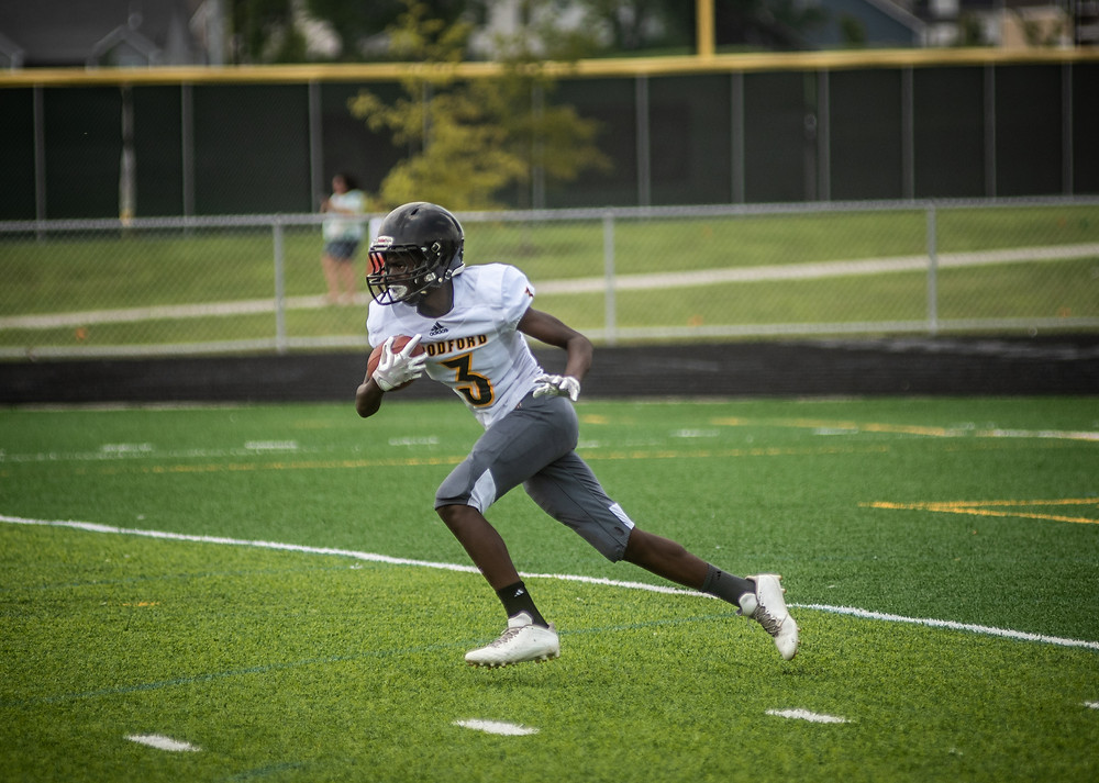 WCMS EIGHTH-GRADER ABDUL BILAL scored on an 80-yard touchdown run in the Tigers' win over McNabb Aug. 30 (Photo by Bill Caine)
