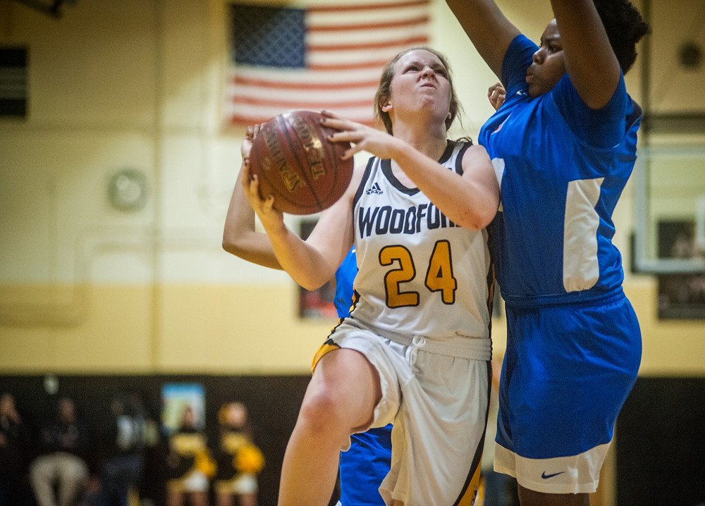 WCHS SOPHOMORE ABBIE HUDSON attempts a shot in the Lady Jackets' win over Frankfort High School on Jan. 26 at the Hive. (Photo by Bill Caine)