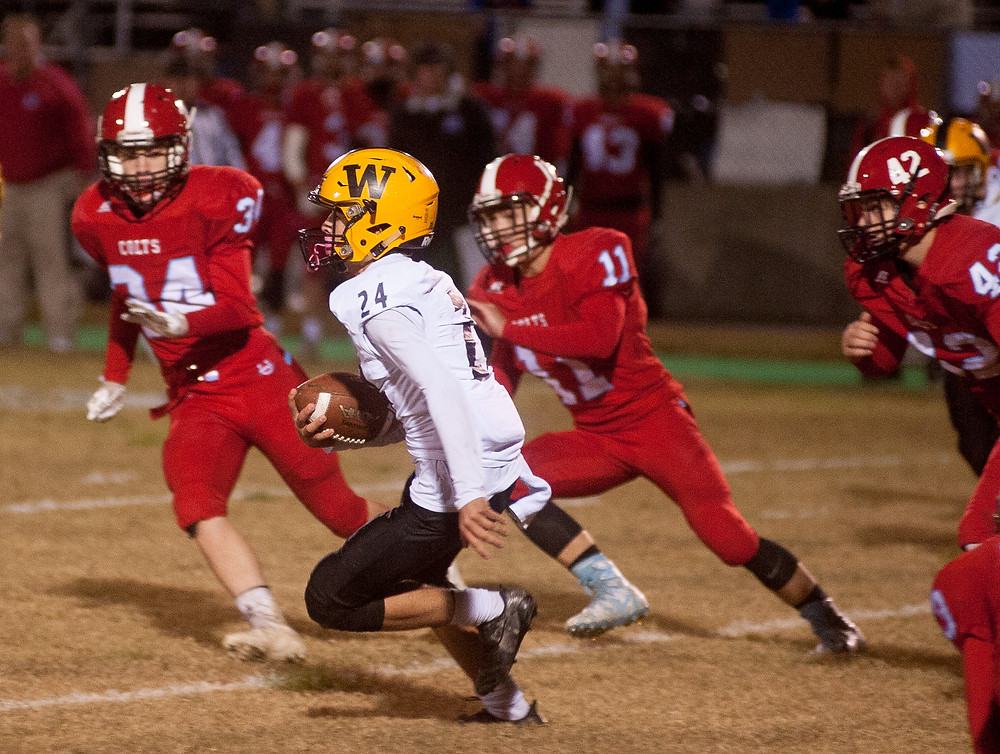 LEO GUADAGNI returns a kick in the first half against West Jessamine on Friday, October 27th.  The Jackets lost the game 28-14. (Photo by Bill Caine)