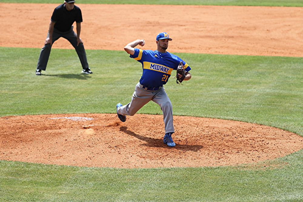 JAMES DAVENPORT, a junior on the Midway University baseball team, picked up the win for Midway to open the River States Conference Baseball Tournament. Davenport, a right-hander, tossed seven innings and allowed three runs – two earned – on three hits. (Photo courtesy Midway Athletics)