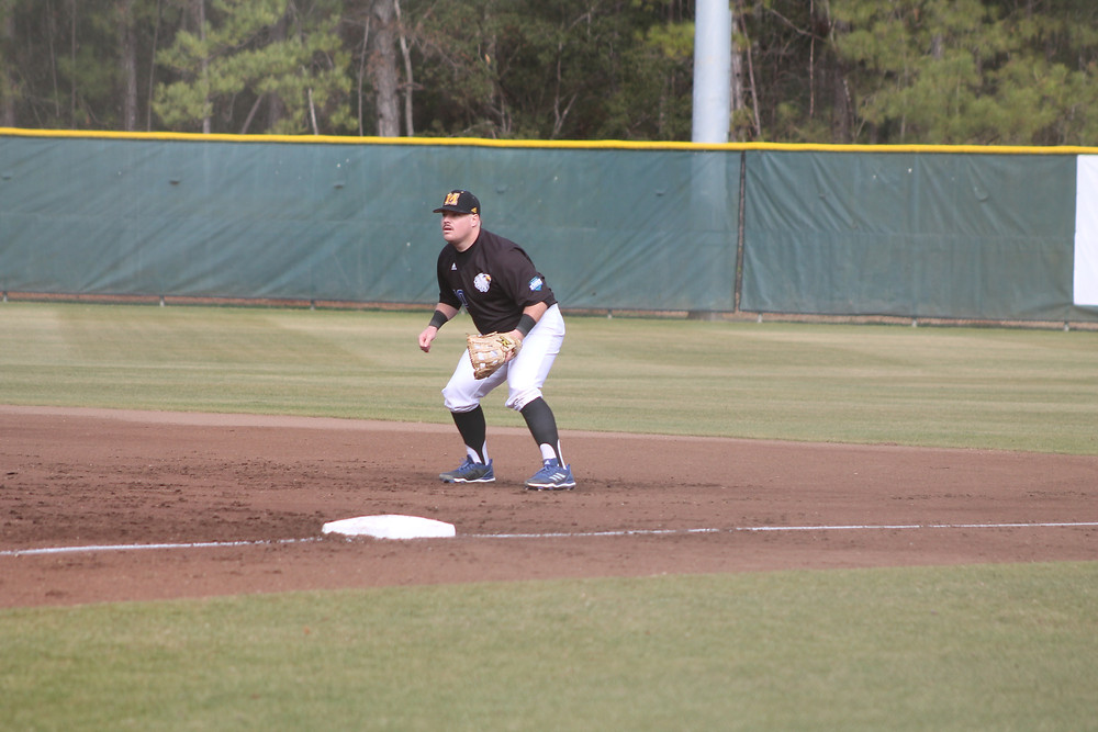 TYLER JONES, a senior pitcher from Huntington Beach, California, not only collected the win in Midway's 2-1 win over Indiana University Kokomo in game two, but he also hit the walk-off single in the bottom of the eighth to lift the Eagles to the 2-1 victory. (Midway Athletics photo)