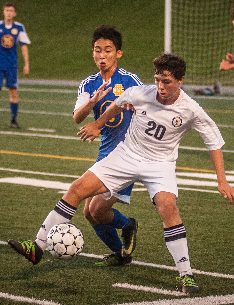 DREW BLAYDES battles for position against Henry Clay on Sept. 14. (Photo by Bill Caine)