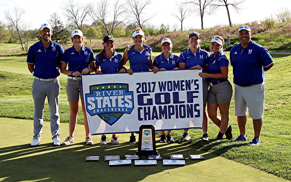 RIVER STATES CONFERENCE CHAMPS. The Midway University women's golf team celebrated its second straight River States Conference Championship with a win in the conference championship tournament, which was held on Tuesday, April 25, at Lassing Pointe Golf Course. Players shown in the photo are, from left, Shawn Tipton (assistant coach), Hannah Scroggins, Chelsea Schack, Kathryn Lawler, Amanda Cox, Kelsey Whitehouse, Rylee Beard and Otis Smith (head coach). (Photo courtesy of Midway Athletics)