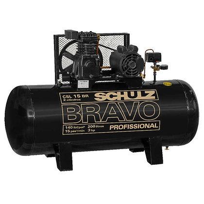 Compressor De Ar Schulz Bravo Csl 15 Pés 200 Litros 3 Cv Monofásico 110/220V