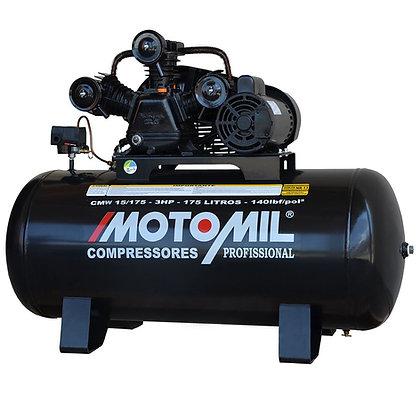 Compressor de Ar Profissional 15 Pés 3,0HP 175 Litros Bivolt 110/220V Mono