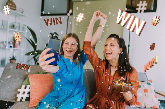 Young women celebrating a win