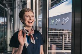 Stewardess waving