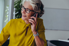 Business woman talking on phone