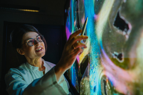 A scientist pointing at digital brain activity map