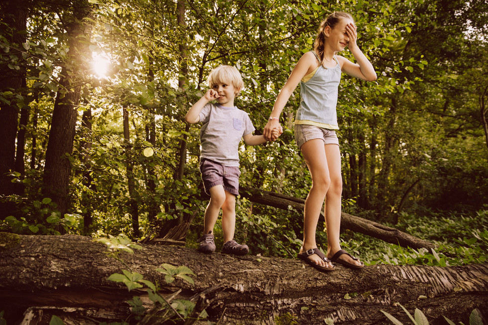 Kids exploring the forest