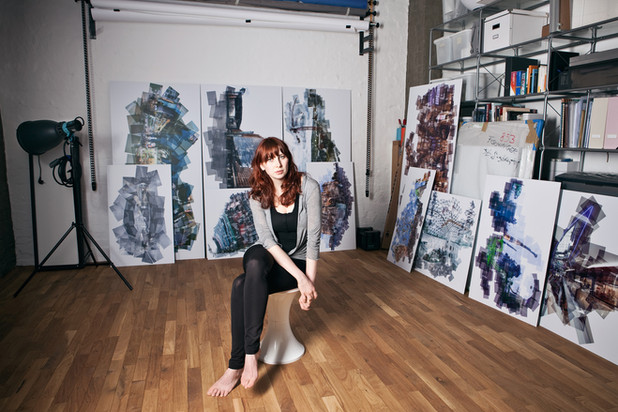 Mareen Fischinger in her studio, surrounded by Panographs