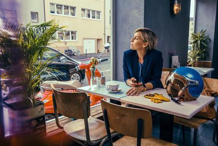 Woman in café