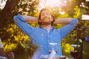 Happy man in garden