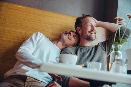 Happy couple in café