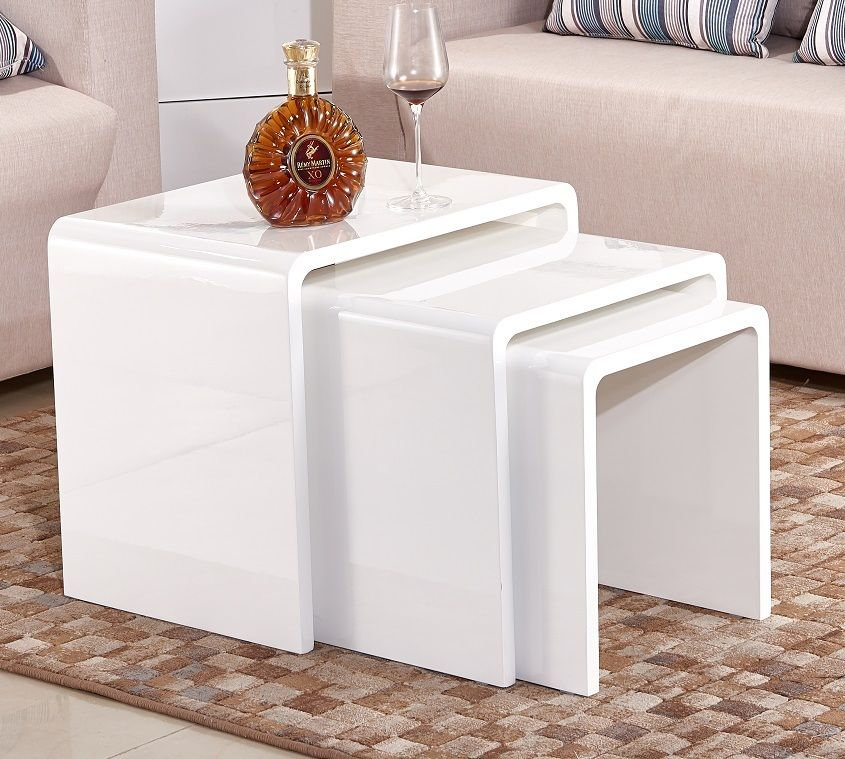 Copy Of White High Gloss Set 3 Side Table