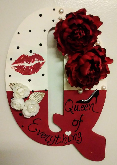"""Finished Wood Letter """"Q"""" Wall Hanging Decor"""