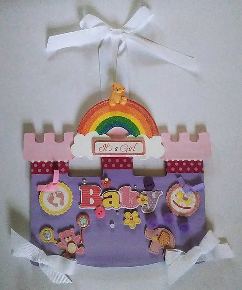 "Wall Hanging Decor Wood Castle ""It's A Girl"""