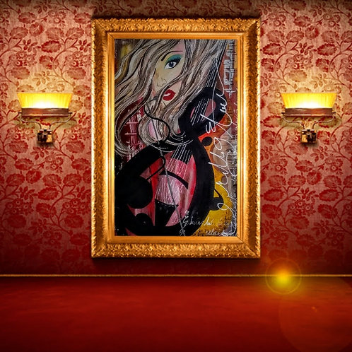 Beautiful Woman Red Wall Art