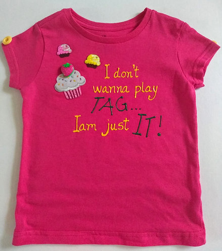 Girl's Handmade XS Short Sleeve Hot Pink T-Shirt